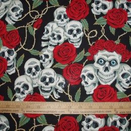Alexander Henry The Rose Tattoo Skulls and roses Red Roses on Black Bright