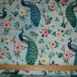 Cotton Fabric Blue Feathered Peacock