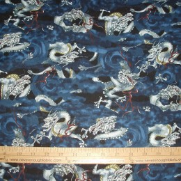 Robert Kaufman Imperial Palace Dragons on blue
