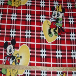 Fleece fabric Mickey & Minnie Mouse on red plaid
