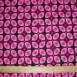 Cotton Blend pink and black geometric