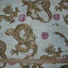 Asian Airbrush Dragon with gold outline cloud on CREAM