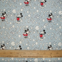 Disney Minnie & Mickey Mouse with bubbles on blue