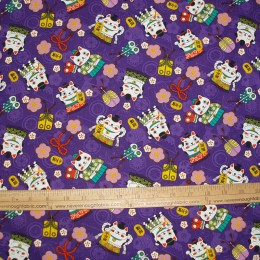 Asian Inspired Maneki-Neko LUCKY CAT on PURPLE