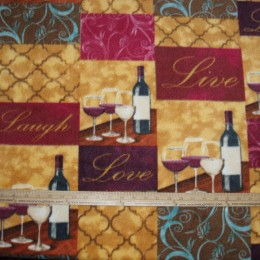Fleece Fabric Live Laugh Love Wine tasting