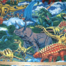 Fleece Fabric Age of Dinosaurs Bright colors