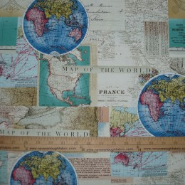 Cotton Vintage Cartography map of the world