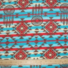 Fleece Native American Indian Blue Red Brown