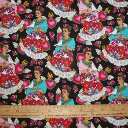 Cotton Fabric Folk Frida on black birds hearts floral