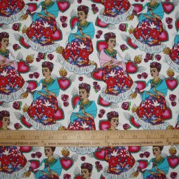 Cotton Fabric Folk Frida on White birds hearts floral