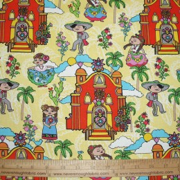 Mexican Villa Dancers church on yellow