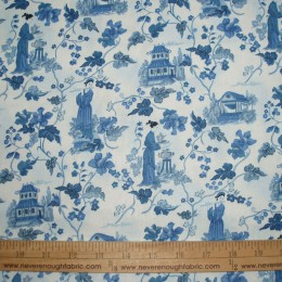 Cotton Asian inspired scene Blue Toile
