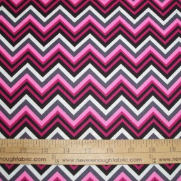 Cotton CHEVRON Stripes in pinks and gray