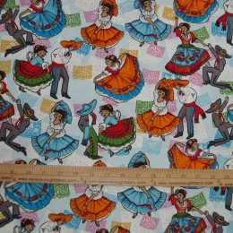 Mexican Folklore Ballet on blue