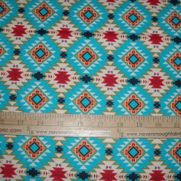 Native American Argyle Motif on Turquoise
