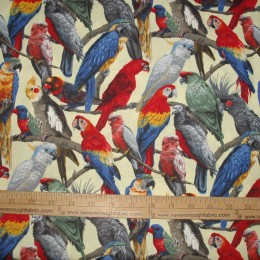 Fabri-Quilt Parrots on lt yellow
