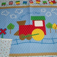 Baby Toddler quilted blanket panel Choo Choo Train
