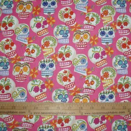 Alexander Henry Mini Calaveras on pink