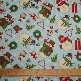 Christmas Cotton Fabric Snowman on blue