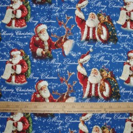 Christmas Cotton Fabric Santa on blue