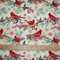 Christmas Cotton Fabric Cardinal on Cream