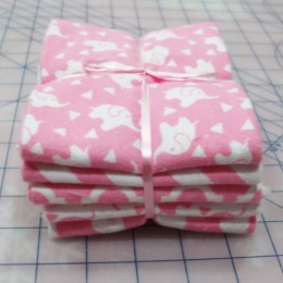 Cotton FLANNEL fat quarter bundle Pink Elephants combo