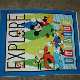 Cotton Quilt top Panel Explore Outside Micky Mouse and Friends