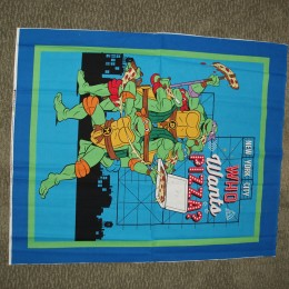 Ninja Turtles Who wants Pizza?  Cotton Quilt top panel