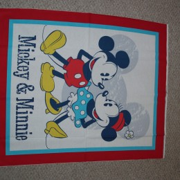 Cotton Quilt Top panel Mickey Mouse & Minnie Mouse