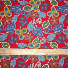 Cotton Fabric Native American Beaded Floral Red