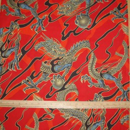 Alexander Henry Golden Tatsu Dragon on red