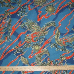 Alexander Henry Golden Tatsu Dragon on blue