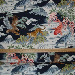 Asian Inspired Eagle Tiger and Koi on navy