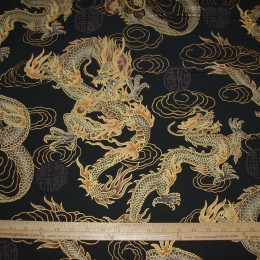 Asian airbrush dragon with gold outline cloud ON BLACK