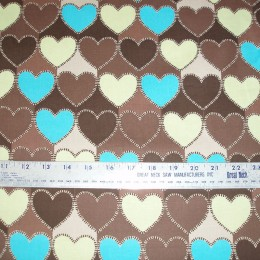 Cotton Blend brown yellow and blue hearts