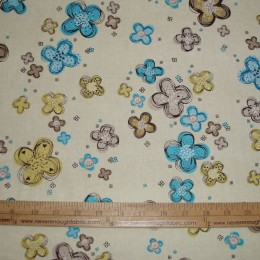 Cotton Blend Turquoise and yellow flowers on yellow