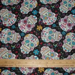 COTTON Day of the Dead Calaveras Sugar Skulls on BLACK