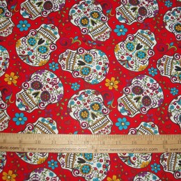 COTTON Day of the Dead Calaveras Sugar Skulls on RED