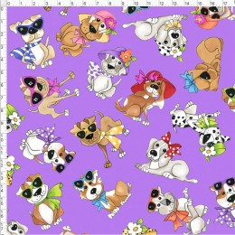 Loralie Designs Go Doggie Tossed on purple