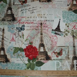 Cotton Fabric PARIS IN SPRING Eiffel Tower