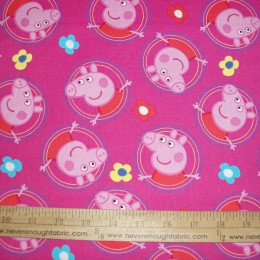 Peppa Pig 100% cotton fabric on pink