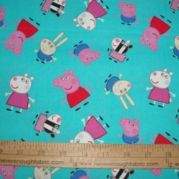 Peppa Pig 100% cotton fabric on Turquoise with George Richard Zoe & Suzy