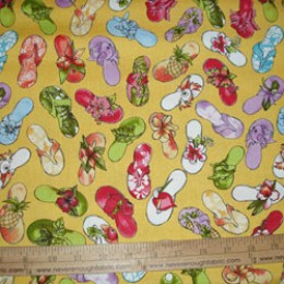 Loralie Designs Fun Beachy flip flops sandals on Golden YELLOW
