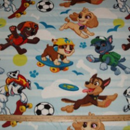 Fleece Fabric Paw Patrol Marshall Chase Rubble Skye Pup Park