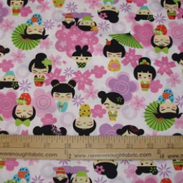 Japanese Kokeshi Doll Design on pink
