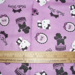 Hello Kitty flannel poodle on lavender   *scrap*