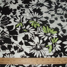Cotton Blend Black and White flowers with pops of bright green #01
