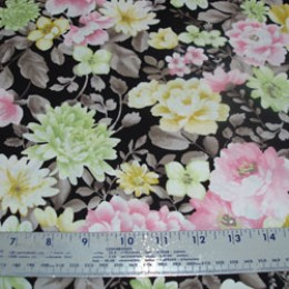 Cotton Blend Floral in pink brown green and gray (4)