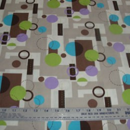 Cotton Blend Geometric shapes in lavender brown and green (05)