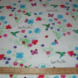Cotton Blend Love this Life humming birds and flowers on white (16)